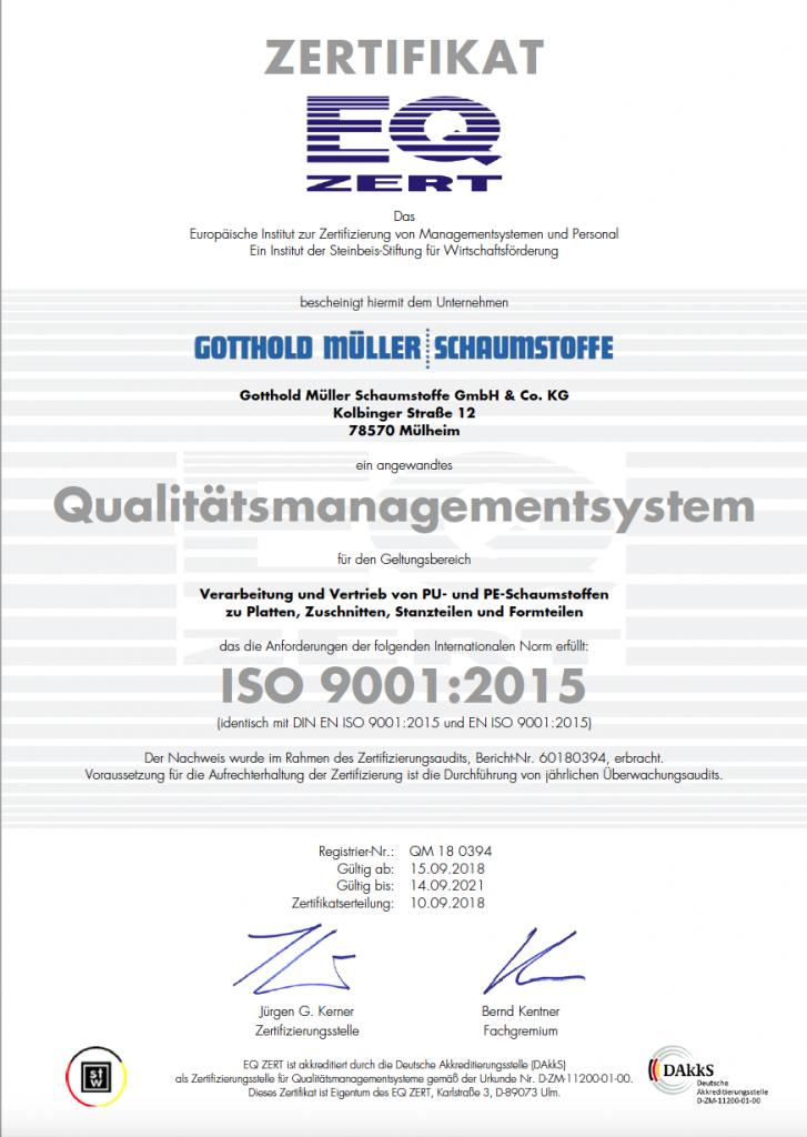 Zertifikat ISO 9001 - Schaumstoff Mueller